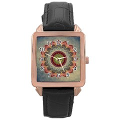 Folk Art Lotus Mandala Dirty Blue Red Rose Gold Leather Watch  by EDDArt