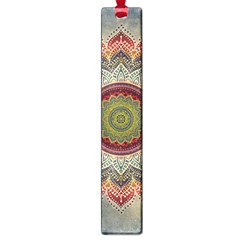 Folk Art Lotus Mandala Dirty Blue Red Large Book Marks by EDDArt