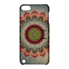 Folk Art Lotus Mandala Dirty Blue Red Apple Ipod Touch 5 Hardshell Case With Stand by EDDArt