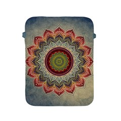 Folk Art Lotus Mandala Dirty Blue Red Apple Ipad 2/3/4 Protective Soft Cases by EDDArt