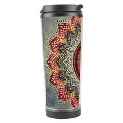 Folk Art Lotus Mandala Dirty Blue Red Travel Tumbler by EDDArt