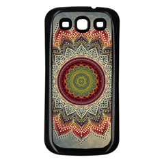 Folk Art Lotus Mandala Dirty Blue Red Samsung Galaxy S3 Back Case (black) by EDDArt