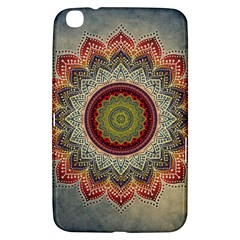 Folk Art Lotus Mandala Dirty Blue Red Samsung Galaxy Tab 3 (8 ) T3100 Hardshell Case  by EDDArt