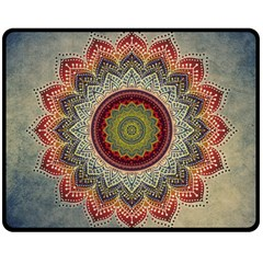 Folk Art Lotus Mandala Dirty Blue Red Double Sided Fleece Blanket (medium)  by EDDArt