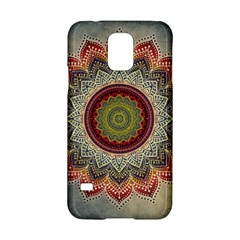Folk Art Lotus Mandala Dirty Blue Red Samsung Galaxy S5 Hardshell Case  by EDDArt