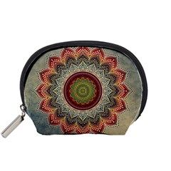 Folk Art Lotus Mandala Dirty Blue Red Accessory Pouches (small)