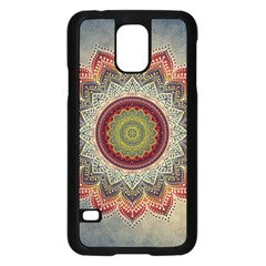 Folk Art Lotus Mandala Dirty Blue Red Samsung Galaxy S5 Case (black) by EDDArt