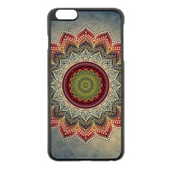 Folk Art Lotus Mandala Dirty Blue Red Apple Iphone 6 Plus/6s Plus Black Enamel Case by EDDArt
