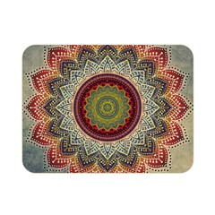 Folk Art Lotus Mandala Dirty Blue Red Double Sided Flano Blanket (mini)