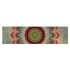 Folk Art Lotus Mandala Dirty Blue Red Satin Scarf (oblong)