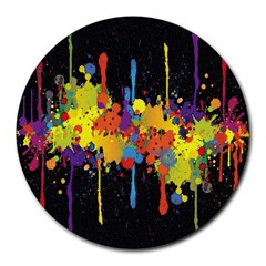 Crazy Multicolored Double Running Splashes Horizon Round Mousepads by EDDArt