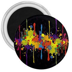 Crazy Multicolored Double Running Splashes Horizon 3  Magnets by EDDArt
