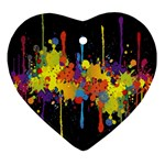 Crazy Multicolored Double Running Splashes Horizon Ornament (Heart)  Front