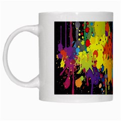 Crazy Multicolored Double Running Splashes Horizon White Mugs by EDDArt