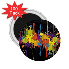 Crazy Multicolored Double Running Splashes Horizon 2 25  Magnets (100 Pack)  by EDDArt