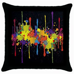 Crazy Multicolored Double Running Splashes Horizon Throw Pillow Case (black) by EDDArt