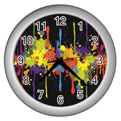 Crazy Multicolored Double Running Splashes Horizon Wall Clocks (silver)  by EDDArt
