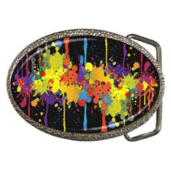 Crazy Multicolored Double Running Splashes Horizon Belt Buckles by EDDArt