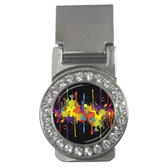 Crazy Multicolored Double Running Splashes Horizon Money Clips (cz)  by EDDArt