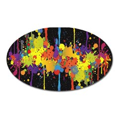 Crazy Multicolored Double Running Splashes Horizon Oval Magnet by EDDArt