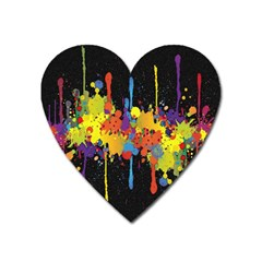 Crazy Multicolored Double Running Splashes Horizon Heart Magnet by EDDArt