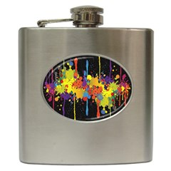Crazy Multicolored Double Running Splashes Horizon Hip Flask (6 Oz)