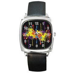 Crazy Multicolored Double Running Splashes Horizon Square Metal Watch
