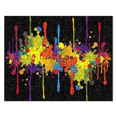 Crazy Multicolored Double Running Splashes Horizon Rectangular Jigsaw Puzzl by EDDArt
