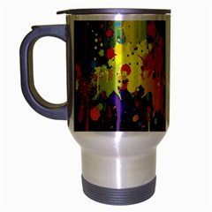Crazy Multicolored Double Running Splashes Horizon Travel Mug (silver Gray) by EDDArt