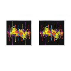 Crazy Multicolored Double Running Splashes Horizon Cufflinks (square)