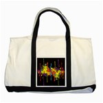 Crazy Multicolored Double Running Splashes Horizon Two Tone Tote Bag Front