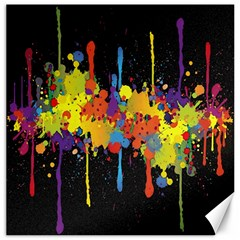 Crazy Multicolored Double Running Splashes Horizon Canvas 16  X 16