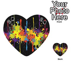 Crazy Multicolored Double Running Splashes Horizon Playing Cards 54 (heart)  by EDDArt