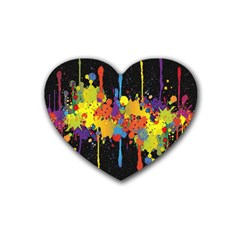 Crazy Multicolored Double Running Splashes Horizon Rubber Coaster (heart)  by EDDArt