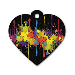 Crazy Multicolored Double Running Splashes Horizon Dog Tag Heart (one Side)