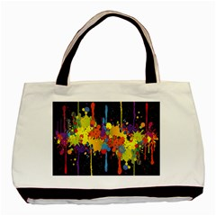 Crazy Multicolored Double Running Splashes Horizon Basic Tote Bag (two Sides) by EDDArt