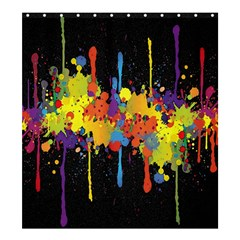 Crazy Multicolored Double Running Splashes Horizon Shower Curtain 66  X 72  (large)  by EDDArt