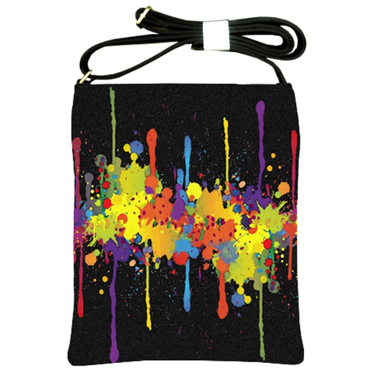Crazy Multicolored Double Running Splashes Horizon Shoulder Sling Bags