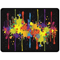 Crazy Multicolored Double Running Splashes Horizon Fleece Blanket (large)  by EDDArt