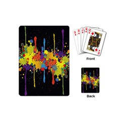 Crazy Multicolored Double Running Splashes Horizon Playing Cards (mini)  by EDDArt