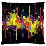 Crazy Multicolored Double Running Splashes Horizon Large Cushion Case (One Side) Front