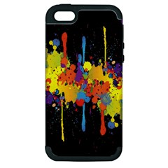 Crazy Multicolored Double Running Splashes Horizon Apple Iphone 5 Hardshell Case (pc+silicone) by EDDArt