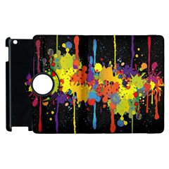 Crazy Multicolored Double Running Splashes Horizon Apple Ipad 3/4 Flip 360 Case by EDDArt