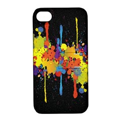 Crazy Multicolored Double Running Splashes Horizon Apple Iphone 4/4s Hardshell Case With Stand by EDDArt