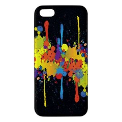 Crazy Multicolored Double Running Splashes Horizon Apple Iphone 5 Premium Hardshell Case by EDDArt