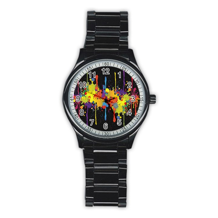 Crazy Multicolored Double Running Splashes Horizon Stainless Steel Round Watch