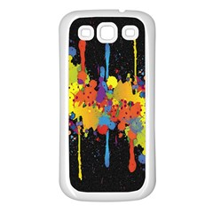 Crazy Multicolored Double Running Splashes Horizon Samsung Galaxy S3 Back Case (white) by EDDArt