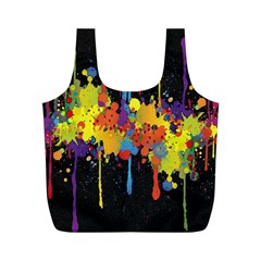 Crazy Multicolored Double Running Splashes Horizon Full Print Recycle Bags (m)  by EDDArt