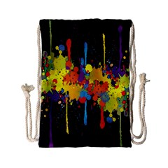 Crazy Multicolored Double Running Splashes Horizon Drawstring Bag (small) by EDDArt