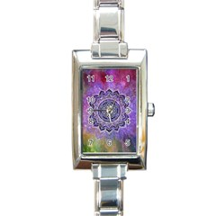 Flower Of Life Indian Ornaments Mandala Universe Rectangle Italian Charm Watch by EDDArt